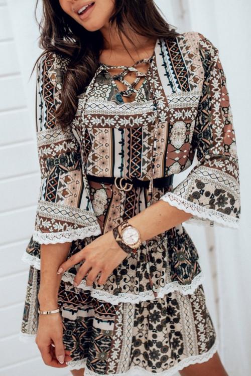 Sukienka PIACENZA Elegance KORONKA PUDER