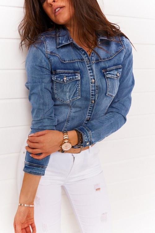 Koszula jeansowa LIBOOS denim stretch
