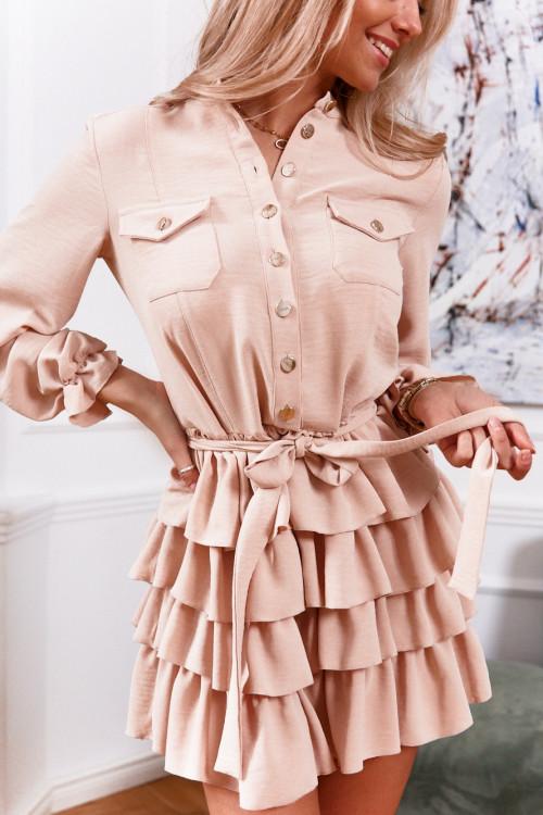 Sukienka JENNY PREMIUM elegance nude beige