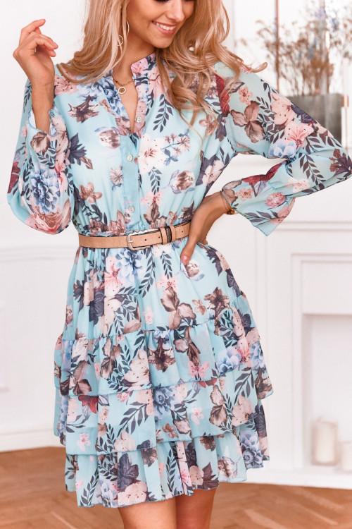 Sukienka POLA miętowe kwiaty
