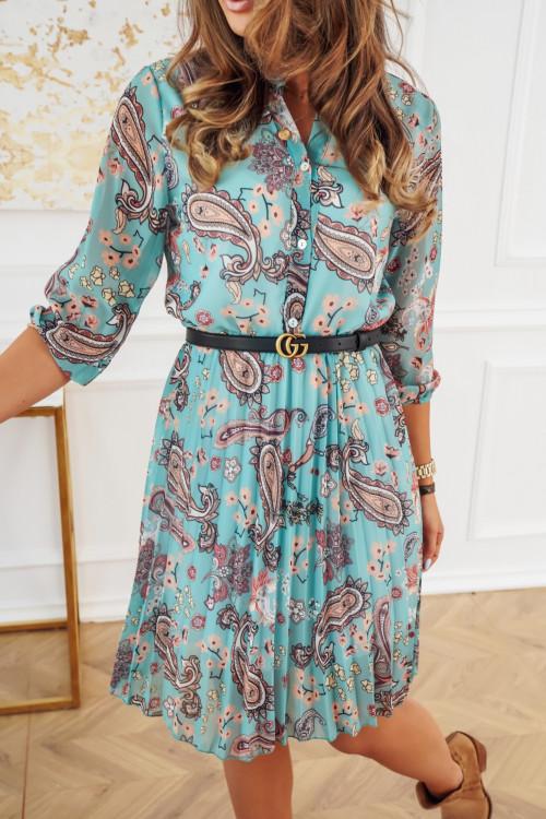 Sukienka plisowana JENNY flowers mint