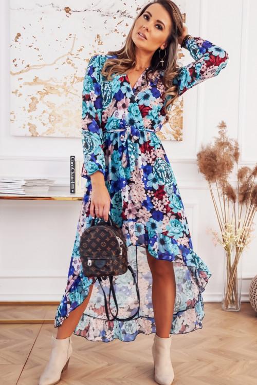 Sukienka KENDALL flowers asymetryczna blue