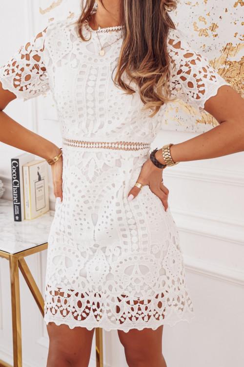 Sukienka PRESTIGIO KORONKA white