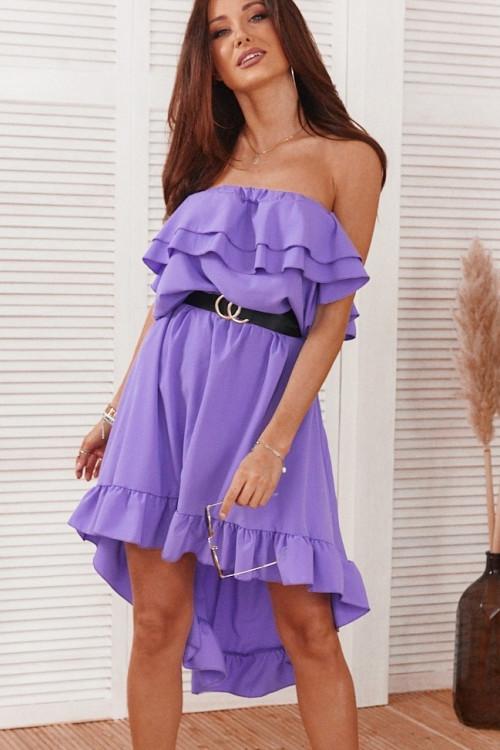 Sukienka ARUBA SUMMER asymetryczna fiolet