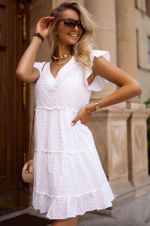 Sukienka biała BOHO V-neck summer