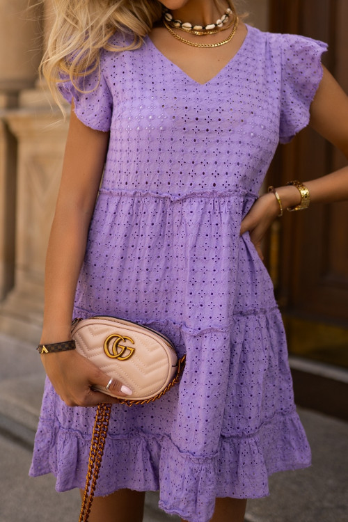Sukienka fioletowa BOHO V-neck summer