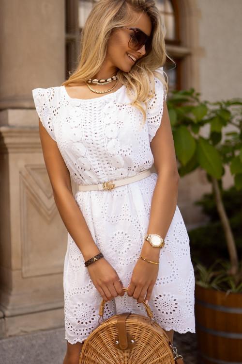 Sukienka VERDIS BOHO koronka biała