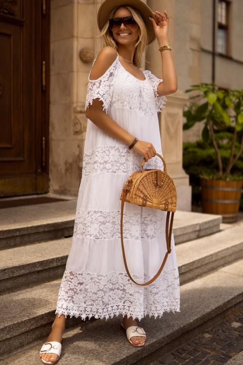 Sukienka LA ROCCA MAXI koronka boho