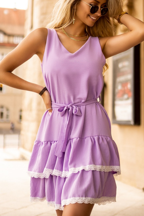Sukienka PRETTY BELLO fiolet koronka