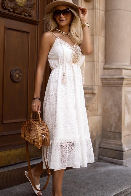 Sukienka zdobiona BOHO KORONKA white and beige
