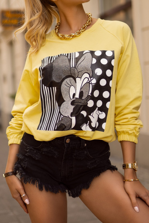 Bluza bawełniana MICKEY and FRIENDS yellow