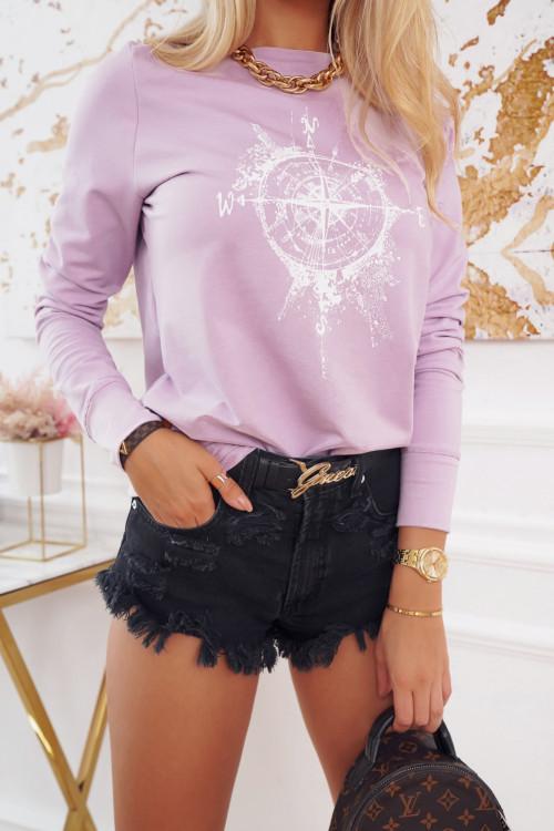 Bluza bawełniana COMPAS TRAVEL lila
