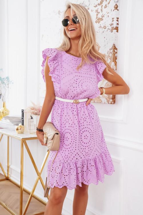 Sukienka BOHO AŻURKOWA Aprilla fiolet