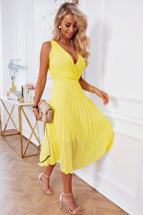 Sukienka PLISOWANA MADERA PRETTY yellow