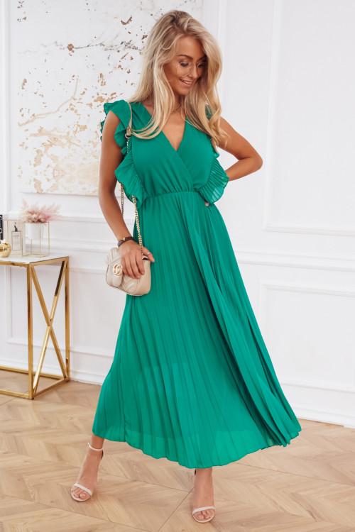 Sukienka CINDY ELEGANCE PLISOWANA zielona