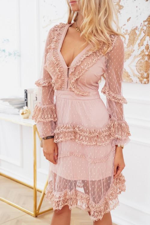 Sukienka CARMELLA PARIS elegance koronki PUDER