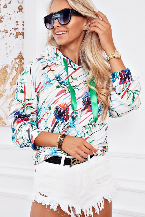 Bluza COSTA FLOWERS SUMMER hoodie WHITE and GREEN