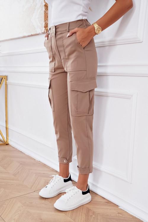 Spodnie PALERMO DESIGN HIGH WAIST NUDE BEIGE