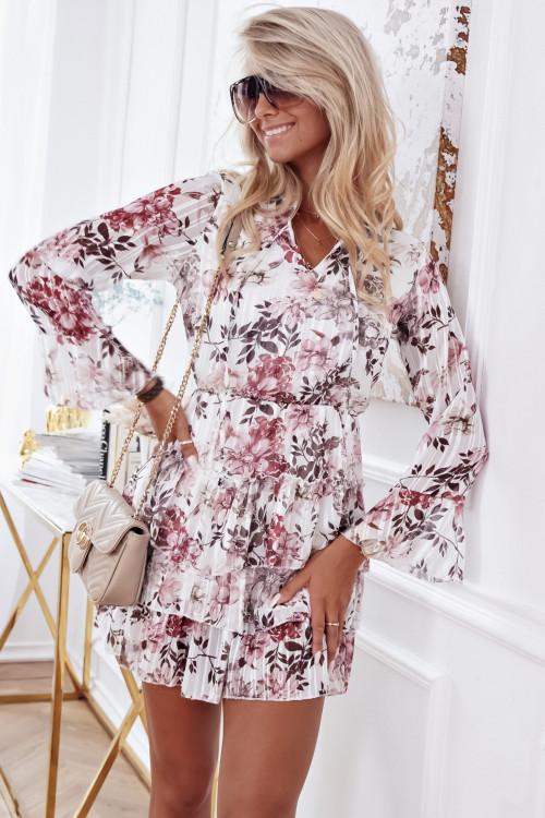 Sukienka KYLIE ELEGANCE WHITE FLOWERS