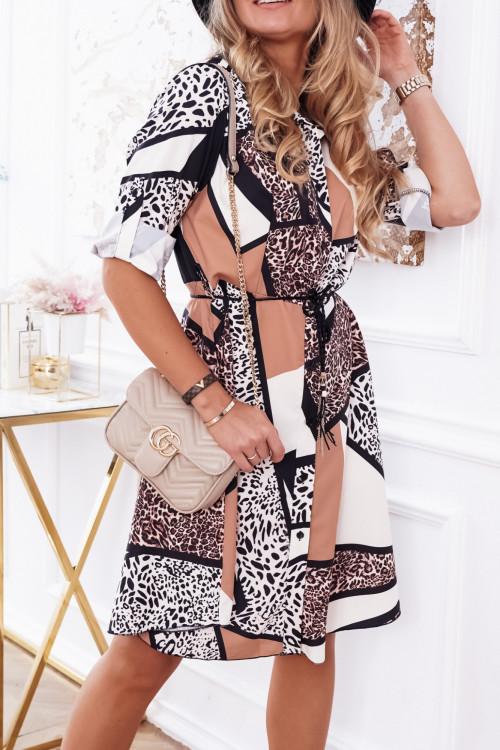 Sukienka CANDLY PRETTY BEIGE panterka