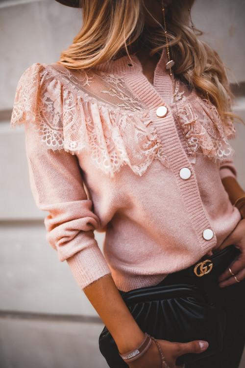 Sweter PARIS PRETTY KORONKA pudrowy róż