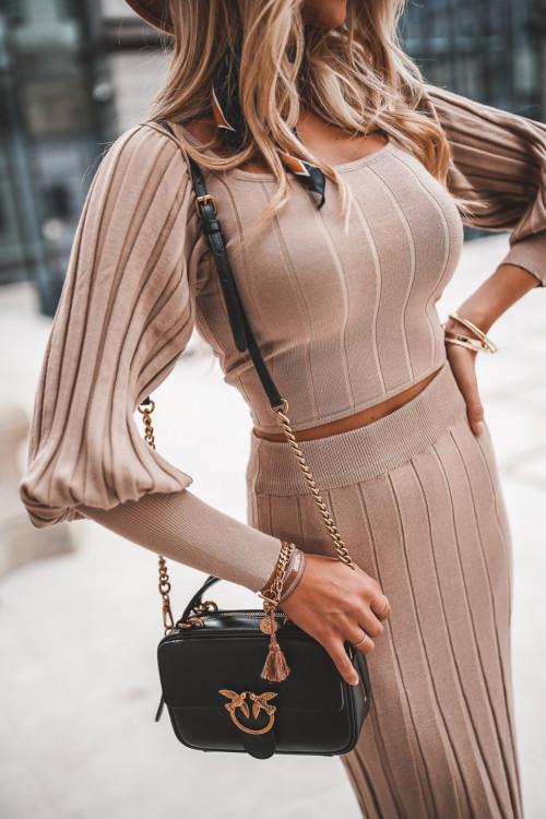 Komplet NUDE BEIGE sweterkowy prążek