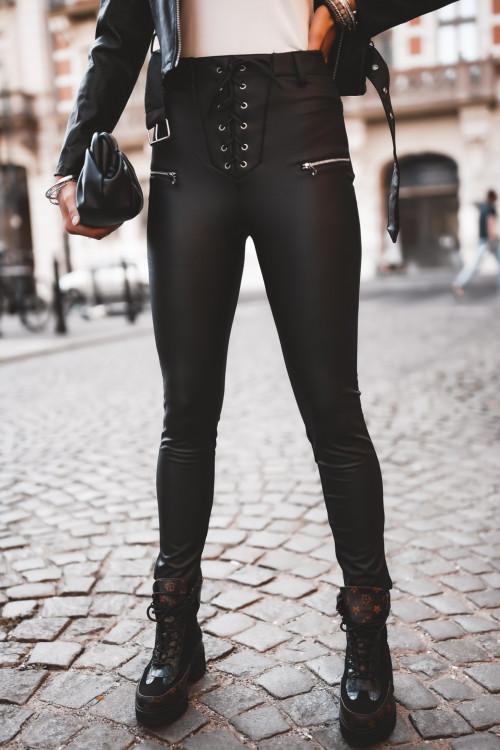 Spodnie skórzane MATOWE ALL BLACK LOOK rurki