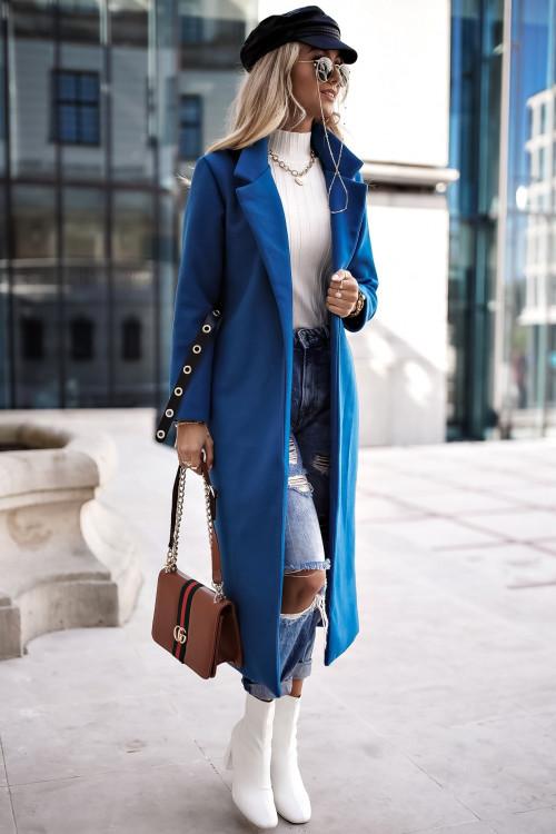 Płaszcz CLASSIC SIMPLOO minimalistyczny szmaragdowy