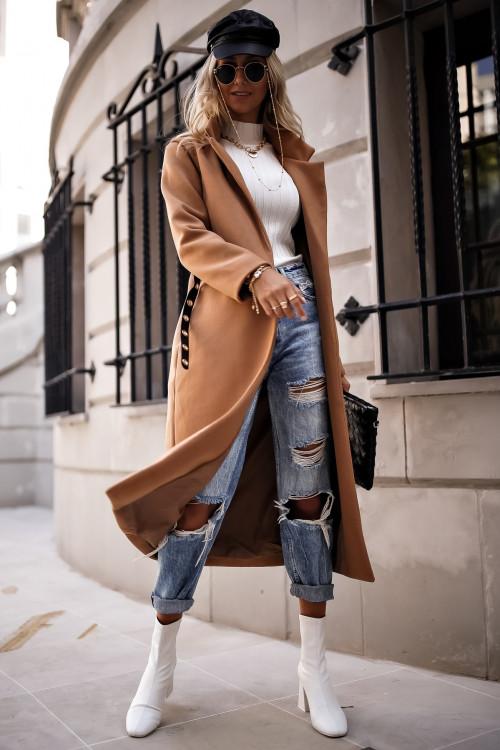 Płaszcz CLASSIC SIMPLOO minimalistyczny camel