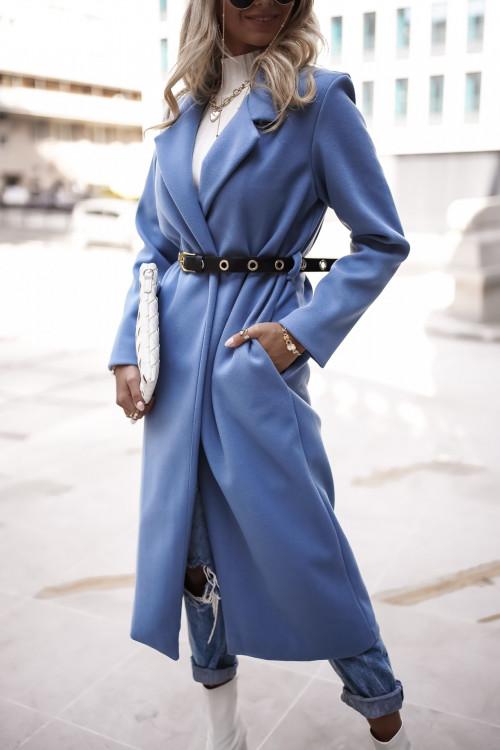 Płaszcz CLASSIC SIMPLOO minimalistyczny blue