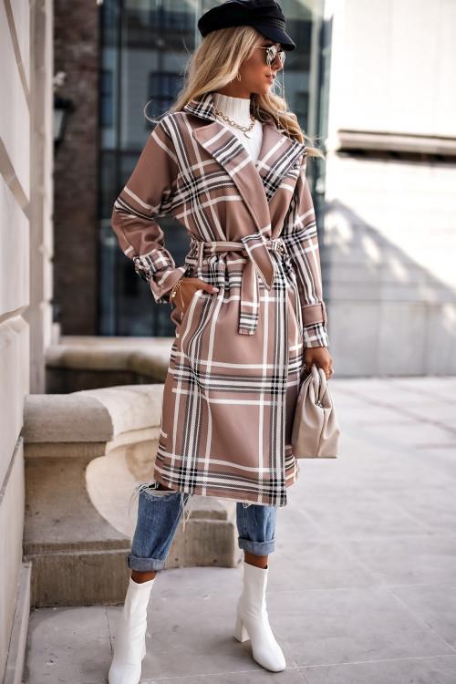 Płaszcz wiązany w kratkę MALAGA BEIGE