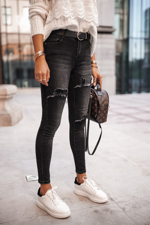 Spodnie TEKSAS DENIM RIPPED high waist