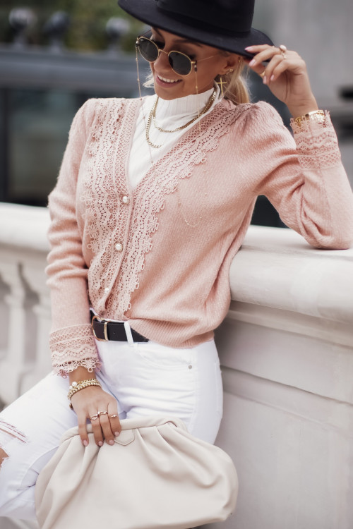 Sweter KARDIGAN EMILY PARIS koronka elegance