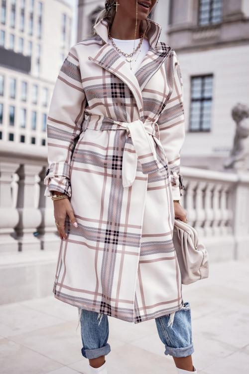 Płaszcz wiązany w kratkę MALAGA light BEIGE