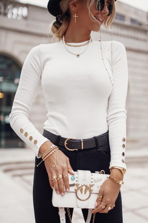 Bluzka PRĄŻEK BASIC SNAPS white