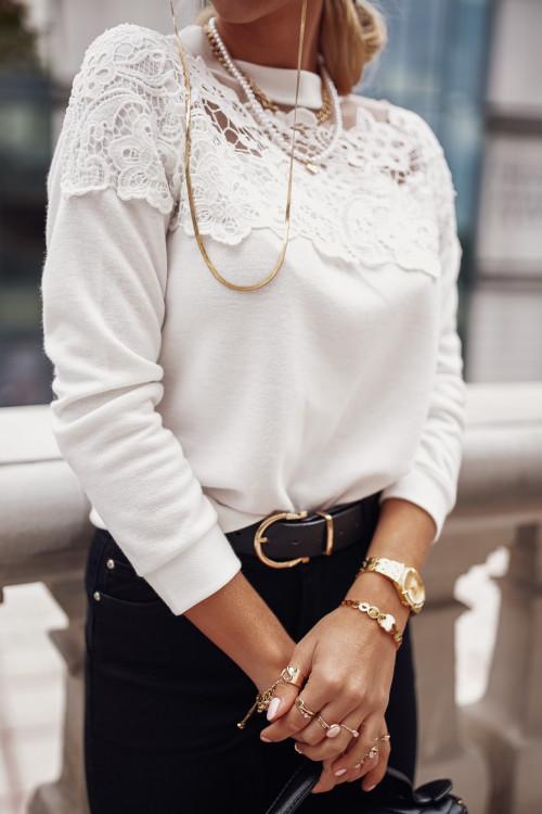 Sweterek PRESTIGGIO KORONKA white