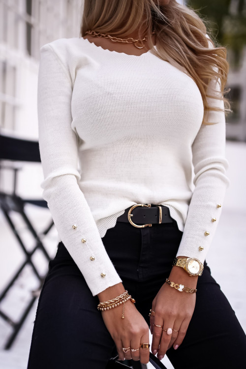 Sweterek PREMIUM SLIM kremowy