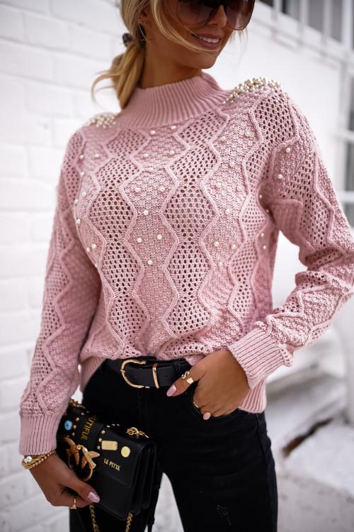 Sweter PEARLS ELEGANCE pudrowy