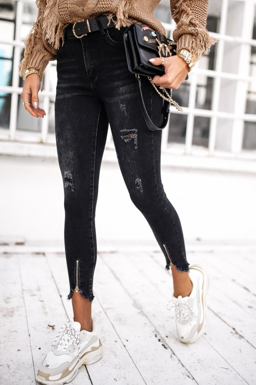 Spodnie RIPPED ZIPPER BLACK skinny