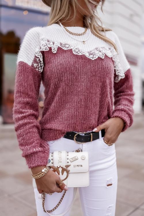 Sweterek La ROCCA PUDROWY RÓŻ koronka