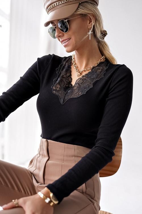 Bluzka PORTOFINNO BLACK elegance koronka
