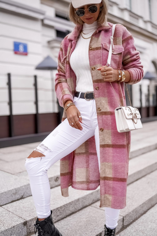 Koszula MAXI COZZY KRATKA pink