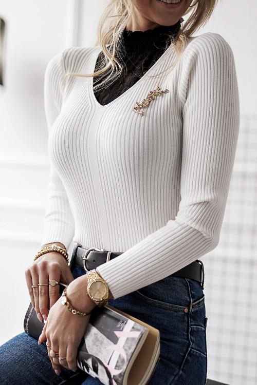 Sweterek GOLFIK KORONKOWY pretty WHITE