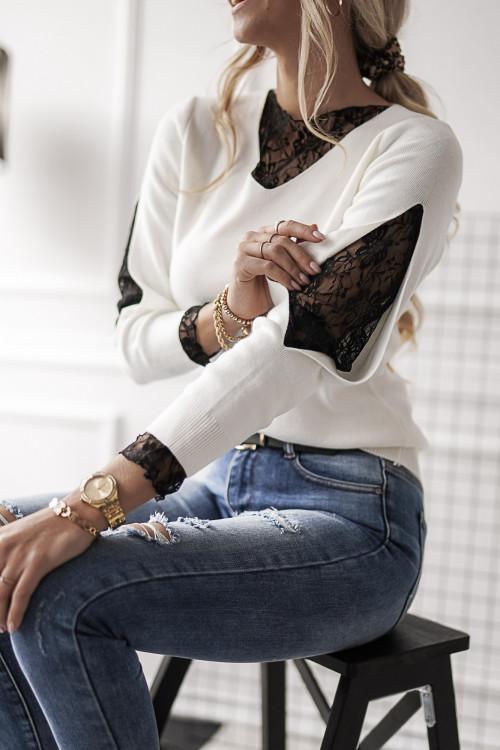 Sweter GIORGIA KORONKA white