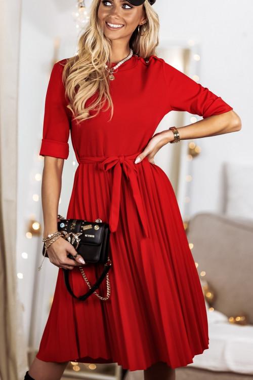 Sukienka PLISOWANA elegance chili