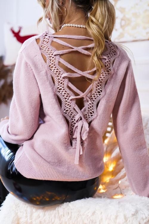 Sweter VENUS PRETTY koronka RÓŻ
