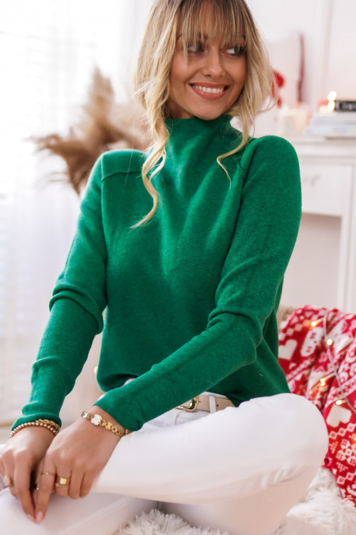 Sweter CALDOS basic zielony