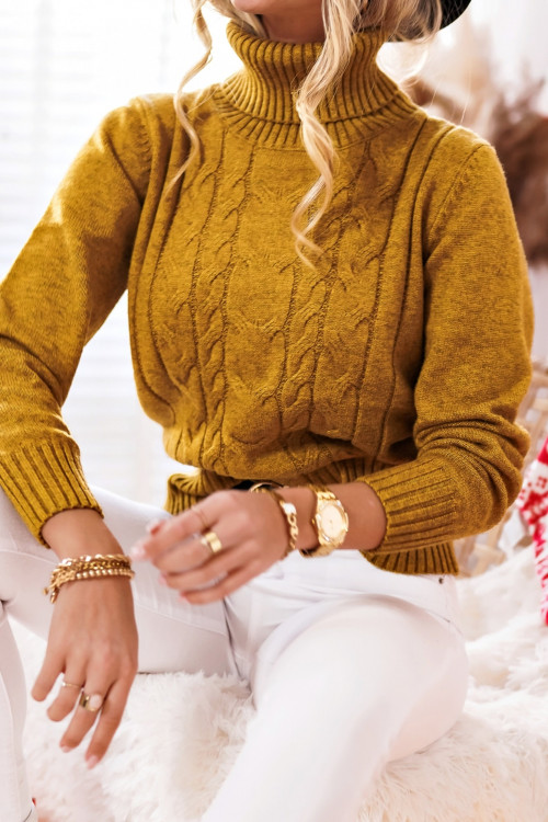 Sweter CHAVES warkocz golf yellow