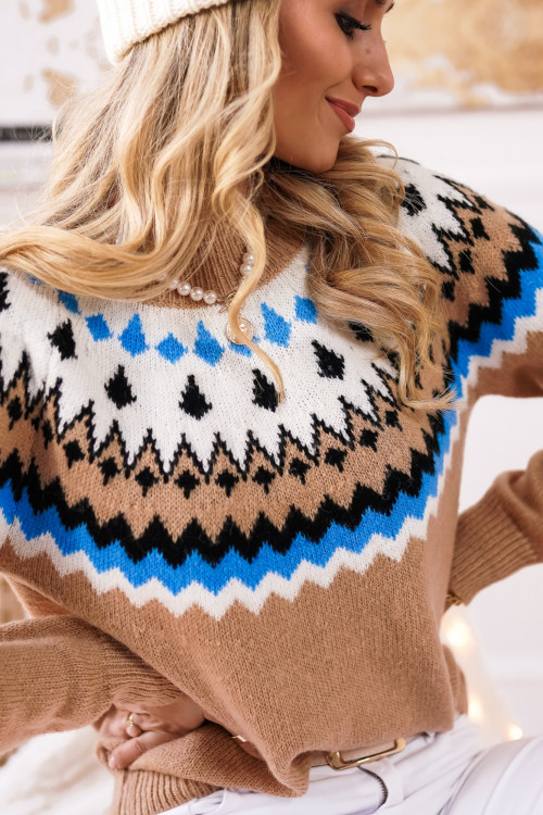 Sweter MONTANNA CAMEL and BLUE winter drop