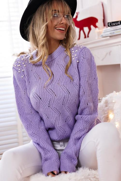 Sweter TIVOLLI PERŁY pastelowy fiolet